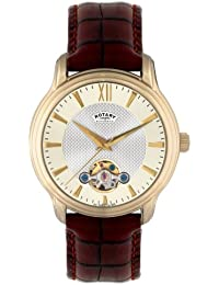 a6d2a1f81907 Rotary GS02817 50 Gents Gold PVD Stainless Steel Brown Leather Strap Watch