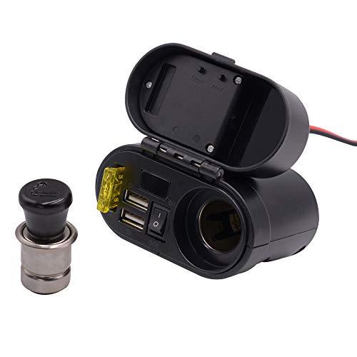 Miya 4 in 1 Waterproof Plug Dual Ports USB-Adapter + Zeitplan + Zigarettenanzünderkopf Für Handy Ladung 12V / 24V Aufladen Motorrad GPS Tablets Ladung 24v-system