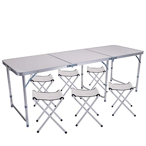 Sunflo Mesa Plegable 6 pies con 4 sillas Mesa para Acampar de Altura Ajustable y portátil Picnic Interior...