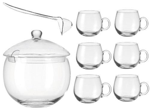 Leonardo Punch 9-teiliges Bowleset Bowle Bowlekrug + 6 Bowlegläser + Schöpfkelle Punch Glas 9