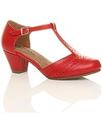 Damen Mitte Blockabsatz T-Riemen Ausgeschnitten Budapestern T-Spangen Pumps Sandalen Größe