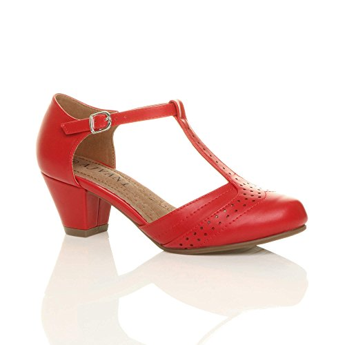 WOMENS LADIES MID BLOCK HEEL T-BAR CUT OUT BUCKLE BROGUE SHOES SANDALS...