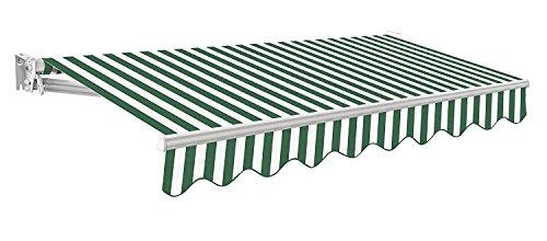 Kompaktes Markisenmodell - 300g/qm Polyester (2.5 x 2m, Grün & Weiß gestreift) -