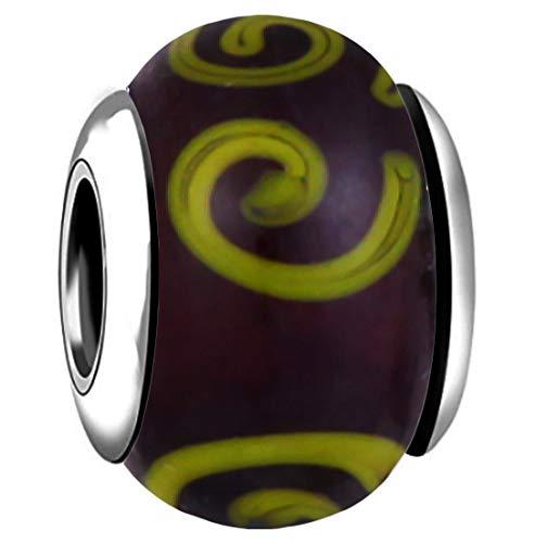 AKKi jewelry Charms Murano Glas Anhänger für Armband Kette in Edelstahl Zirkonia Silber Karma,Pandora kompatibel Schwarz
