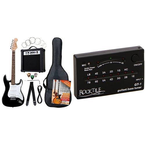 Rocktile Banger's Pack Komplettset E-Gitarre Schwarz (Verstärker, Tremolo, Tasche, Kabel, Gurt, Plecs, Ersatzsaiten und Schule mit CD/DVD) + Rocktile GT-1 Stimmgerät für Gitarre/Bass Bundle