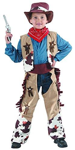 GODAN Cowboy Kostüm Kinder - komplettes Elegantes Cowboy Kostüm für Jungen (110/116)