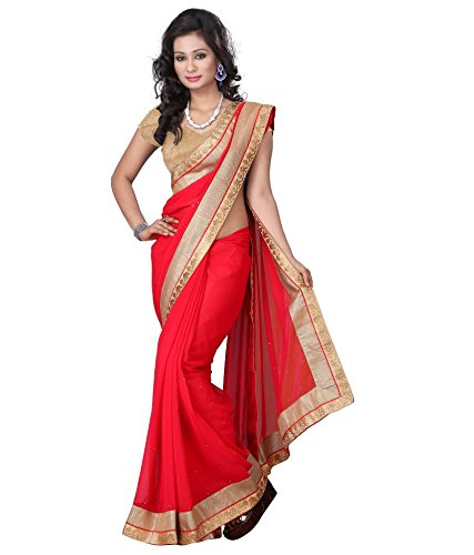 V-Art Red Chiffon Embellished Saree With Brocade Blouse