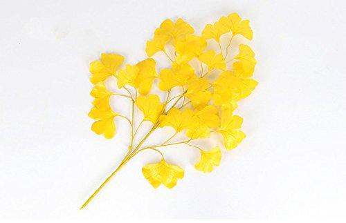 URGrace 12Pcs 60cm künstliche Seide gefälschte gelbe Ginkgo Biloba Baum Blatt Blumen Blumenstrauß Zweig für Party Hochzeit Home Office Hotel Dekoration