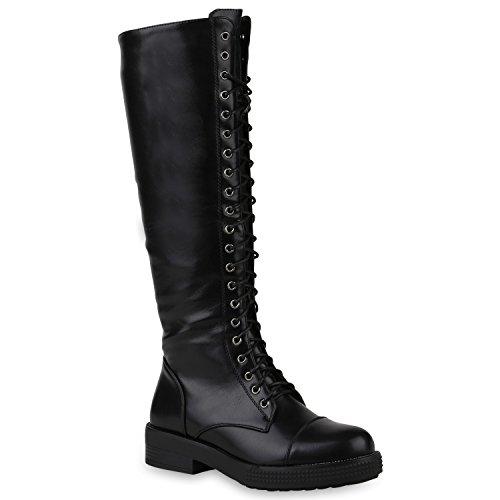 Stiefel Hohe Kostüm - Damen Schuhe Stiefel Schnürstiefel Boots Plateau Vorne Leder-Optik SCHWARZ 36 Flandell