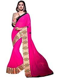 Ethnic Bliss Lifestyles Brocade & Georgette Saree (Ebl-Hvsr-A2_Multi-Coloured)
