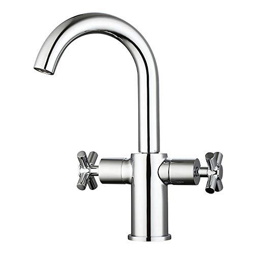 Heißes und kaltes Wasser-Badezimmer-Eitelkeits-drehbarer Hahn, Zwei Handgriffe-Waschbecken-Hahn-Chrom-bleifreier Plattform-angebrachter Hahn -