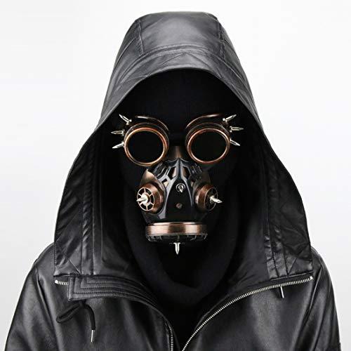 Krieger Kostüm Maske - Jiuyizhe Biogefährdung Steampunk Gasmaske Brille Spikes Skelett Krieger Tod Maske Maskerade Cosplay Halloween Kostüm Requisiten (Color : Bronze)