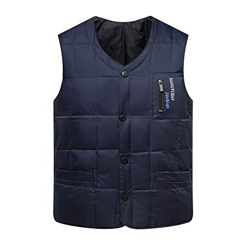 HGDR Mens Black ArmyGreen Blue Gilets Steppweste Winter Warme Daunenweste Weste ärmellose Jacke Für Männer,Blue-XXL Zip Front Ski-jacke