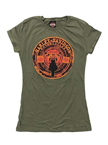 Harley Davidson Original HD Damen T-Shirt Tank Top für Biker - Vintage Patch Print Harley T-Shirt für Biker Ladys - Oliv, Größe:L