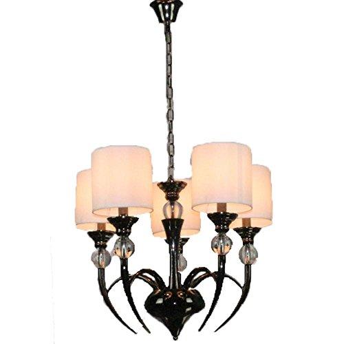 e kreative Persönlichkeit Wohnzimmer Schlafzimmer Kristall-Kronleuchter, Schmiedeeisen schwarz Horn , white lamp shade (Horn Stash)