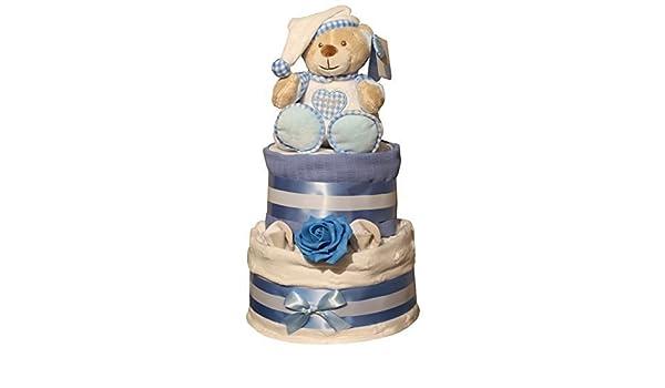 Rose de luxe blanc /étoiles G/âteau de couches Bleu ou rose design cadeau envelopp/é dans CELLOPHANE n/œud /&/Étiquette cadeau b/éb/é