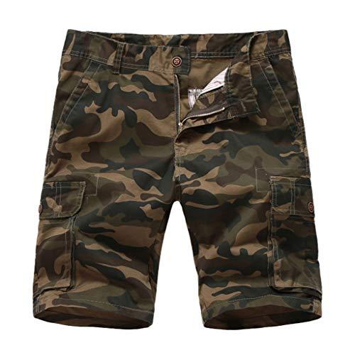 QINPIN Modische Herren Sommer Camouflage Button Overalls und Windschutz Tarn Knöpfe mit Taschen Shorts fürs Werkzeug Jeans Arbeitshose Outdoor Regular Armeegrün 34 Basic Outdoor Chino Hosen
