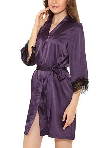 Yulee Damen Morgenmantel Kimono Spitzenrand Satin Nachtkleid in europäischer Größen Violett
