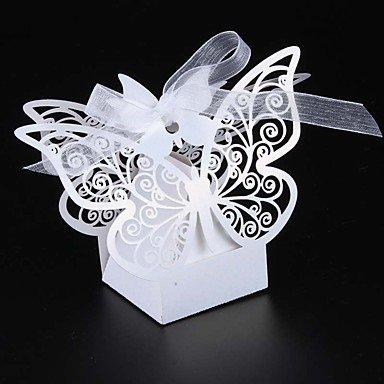 Comfot Kreatives Perlen Papier Hochzeits-Gunst Halter mit Bändern Favor Boxen-50Pcs,White