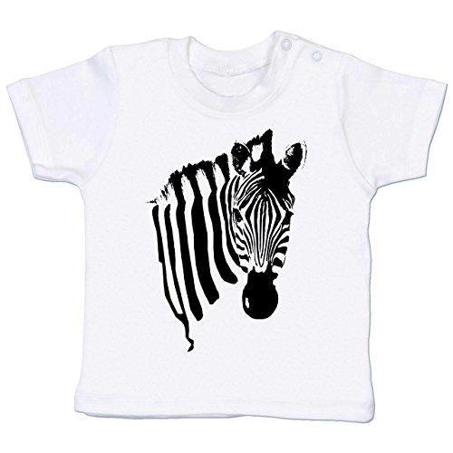 (Shirtracer Tiermotive Baby - Zebra - 3-6 Monate - Weiß - BZ02 - Babyshirt Kurzarm)
