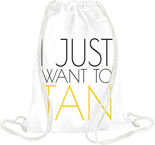 I Just Want To Tan Slogan Drawstring bag