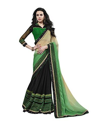 Mahotsav Chiffon Saree (8521_Green, Black)  available at amazon for Rs.1960