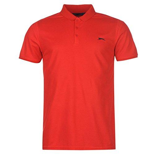 Slazenger Core B Line Herren Polo Shirt Kurzarm Unifarben Polohemd Logo Rot