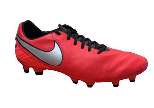 Nike Herren Tiempo Mystic V FG Fußballschuhe Weiß / Schwarz / Orange (Lt Crmsn / Mtllc SLVR-Ttl Crmsn)