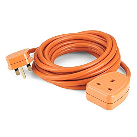 SIMBR 5M 1-Gang Extension Lead Cable Heavy Duty Cords with 13A Plug Socket Orange (5M)