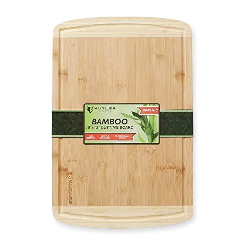 Kutler Schneidebrett aus Bio-Bambus, 45,7 x 30,5 cm, zweifarbig, für Küche, Butcher mit Saftrillen zum Schneiden von Fleisch, Gemüse, Brot und Käse, extra groß Bambus Sushi-board