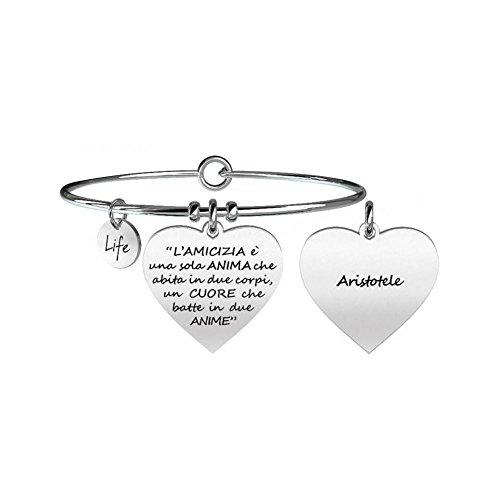 Kidult - bracciale in acciaio 316l con ciondolo cuore con scritta