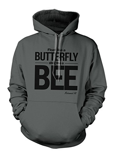Fly Like A Butterfly Sting Like A Bee Muhammad Ali Quote Hoodie Sweatshirt Slate Grey XX-Large Butterfly Hooded Sweater