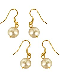 Surat Diamonds Set Of 2 White Shell Pearl & Gold Plated Wire Dangle & Drop Earrings For Women (H1668)