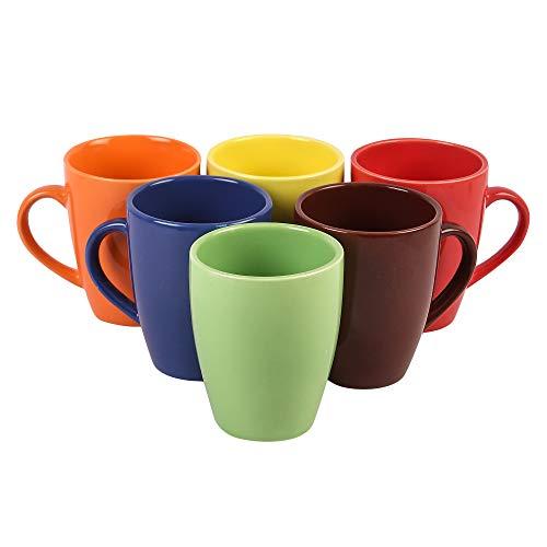 Anwaliya® Hand Made Multi-Coloured Gloss Finish Ceramic Coffee Mugs, 250 ML. (Set of 6 Pcs, Assorted Colours)