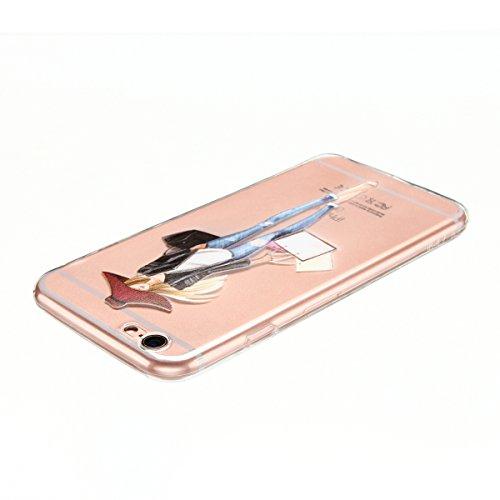 Cover iPhone 6 plus Custodia iPhone 6s plus Silicone Anfire Morbido Flessibile TPU Gel Case Cover per Apple iPhone 6 plus/6s plus (5.5 Pollici) Ultra Sottile Clear Trasparente 3D Copertura Antiurto Bu Ragazza Moderna