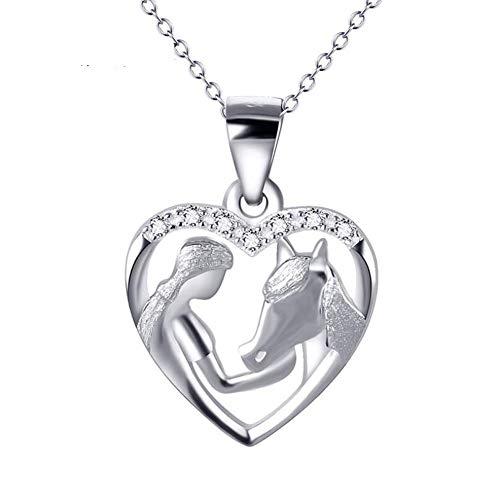 GAOHONGMEI Mädchen Fütterung Pferd Halskette, 925 Sterling Silber Herz Anhänger Halskette Mode Persönlichkeit Zubehör-Silver -