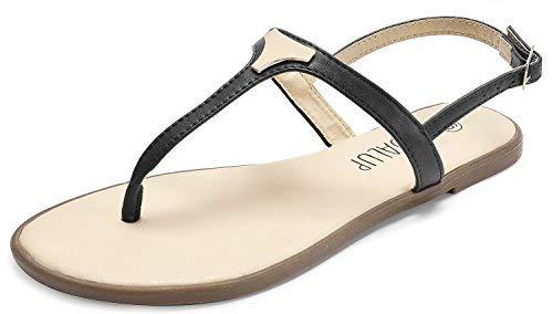 SANDALUP Damen Sandalen mit Dreieck Metall, Schwarz, 36 EU / UK 3