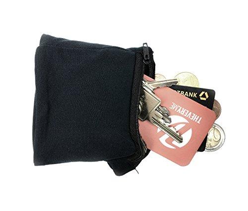 TheVeryMe® originale - Edles- premio di design in microfibra - Armtasche Sportarmband Armbandportmonee portafoglio di sicurezza portafoglio tasca con zip - 10 x 9 cm - nero