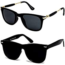 Y&S branded Sunglasses for boys stylish combo sunglasses for mens womens girls at low price uv protected non polarized sun glasses goggle set (YS-Combo-Blk-Gldn-Stk-BlkBlkWayf-55 )