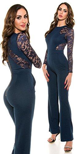 KouCla a maniche lunghe tuta con punta-elegante jumpsuit tuta taglia S-XL (ov18951) 3 Marine XL