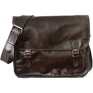 41FCMQu82CL. SS324  - PAUL MARIUS LA SACOCHE (L) INDUS Maletín bandolera de cuero para portátil, mochila de cuero, bandolera de cuero, color Marrón oscuro Vintage & retro
