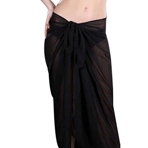 Longra Damen Swimm Cover Up Bikini Kleid Damen Strandmode Sommerröcke Maxiröcke Chiffon Röcke Lange Röcke Strandröcke Boho Sommerkleid Strandkleid (Black)