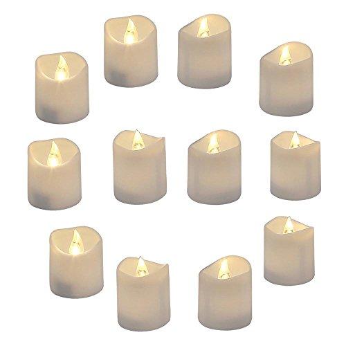 GrassVillage - Juego de 12 velas LED realistas y brillantes con diseño de ondas, 3,5 cm x 4 cm de alto, velas de té sin llama, vela falsa eléctrica en blanco cálido brillante y ondas abiertas