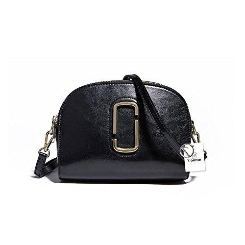 Yoome piccolo lusso in vera pelle cross corpo borse cerniera trucco portafogli borse a tracolla per le donne ragazze adolescenti - blu Nero