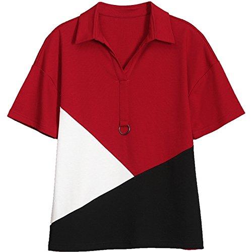 MoMo T-shirt à manches courtes femme 2018 été chemise de couture lâche frappé couleur chemise col coton chauve-souris T-shirt,rouge