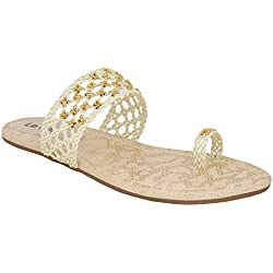 Le Fete Women's White & Beige Flat Sandals -39