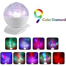 ICOCO Proyector de Luz con Altavoz (jack 3,5mm de audio , 9 modos de proyección, se apaga automáticamente), en forma de diamante