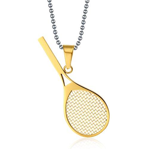 Vnox Herren Damen Edelstahl Tennis Charme Anhänger Halskette Nette modische Art und Weise Schmuck Gold,freier Kette