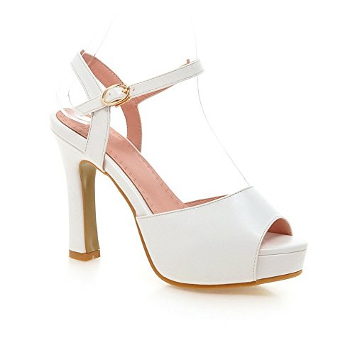 Adee Mesdames Boucle High-Heels polyuréthane Sandales Blanc - blanc
