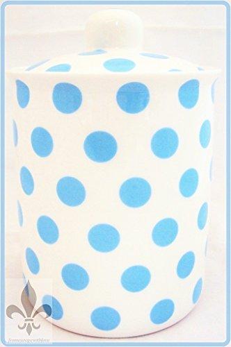 Bleu Clair Pois en porcelaine Fine Boîte de rangement bleu décoré à la main au Royaume-Uni. Sans U. K. De livraison